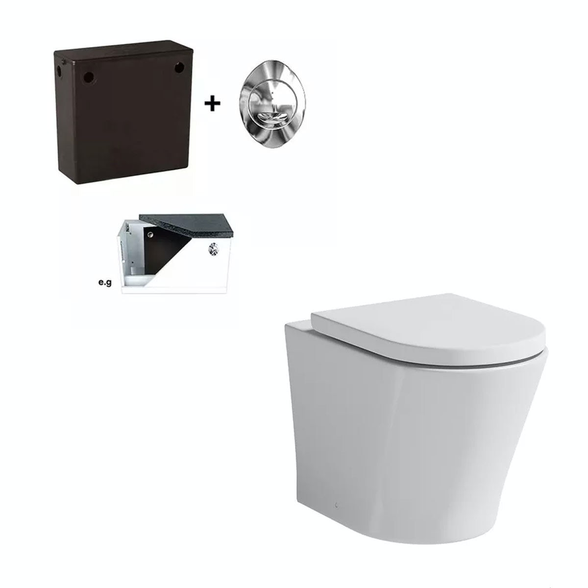 Mode Tate back to wall toilet with soft close seat and concealed cistern