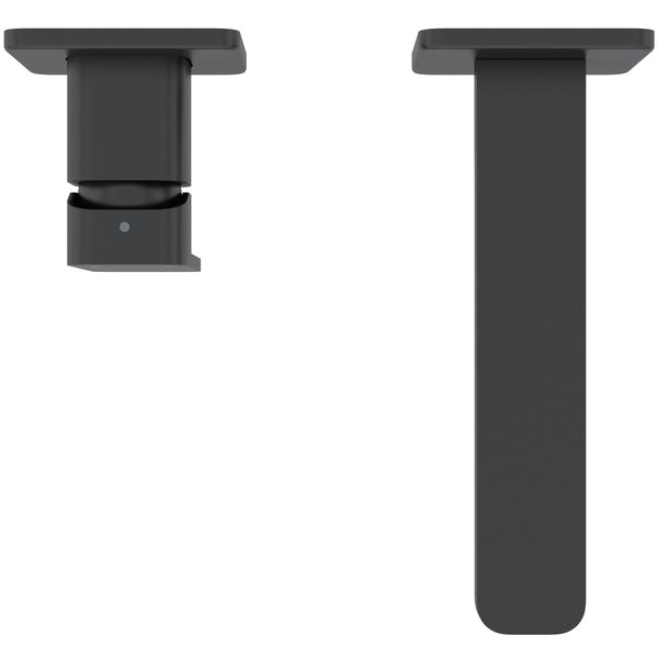 Mode Spencer square wall mounted black bath mixer tap
