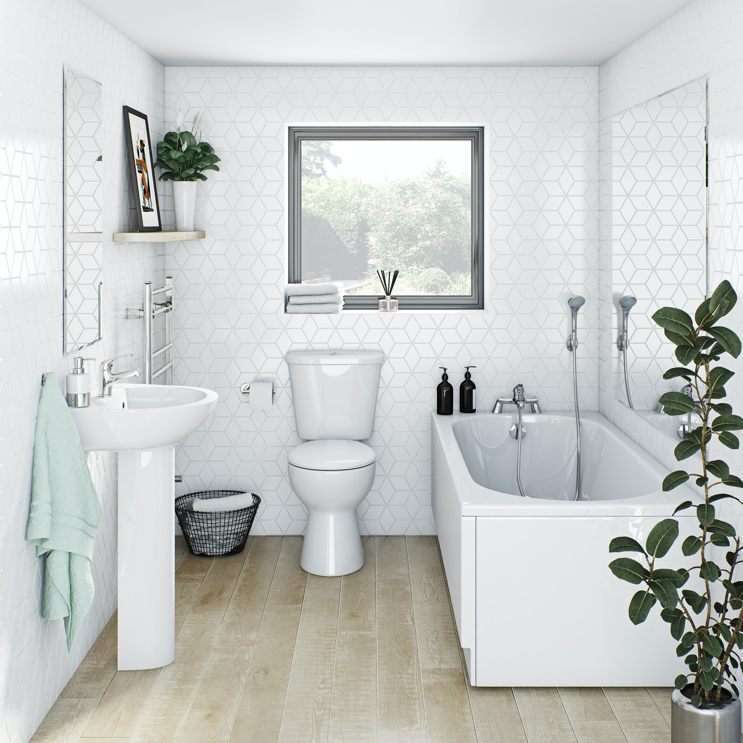 Clarity complete bathroom suite with straight bath, shower and taps