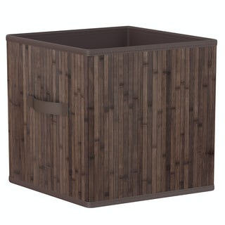 Natural bamboo dark brown storage basket