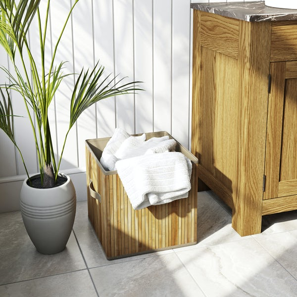 Natural bamboo storage basket