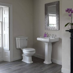 Winchester close coupled toilet and full pedestal basin with white seat