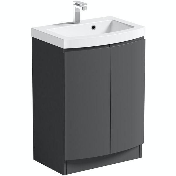 Mode Harrison slate floor standing door unit and basin 600mm with mirror