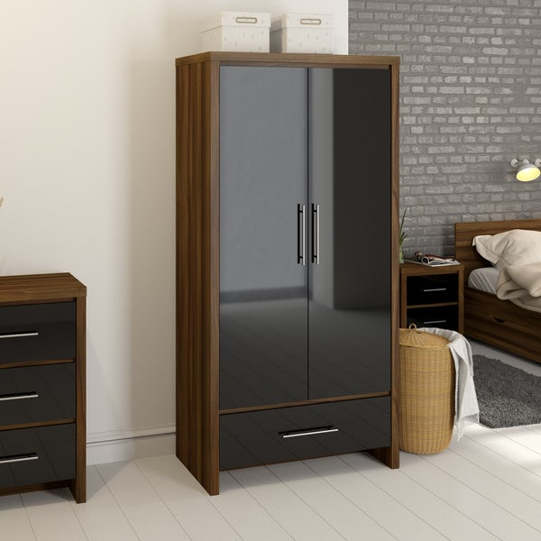 London Walnut & Black Gloss 2 Door, 1 Drawer Wardrobe