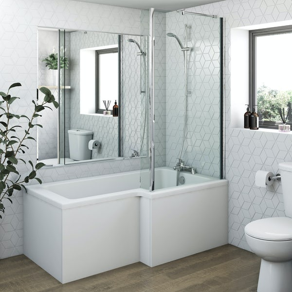 Clarity L shaped right handed shower bath 1500mm with 5mm shower screen