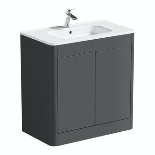 purity pebble grey 800 floor mounted vanity unit with basin