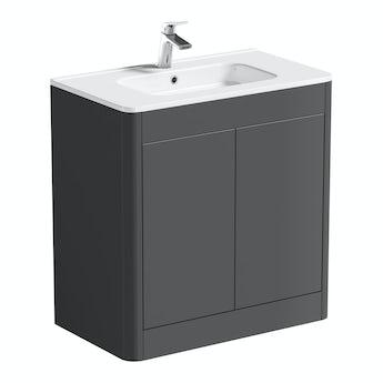 Mode Carter pebble grey floor mounted vanity unit and basin 800mm
