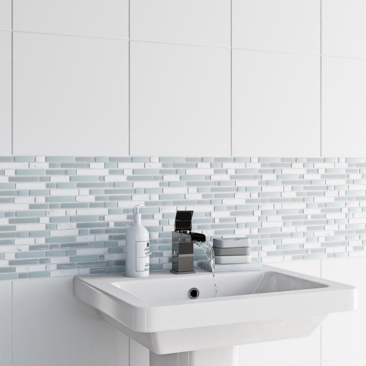British Ceramic Tile Mosaic ice white gloss tile 305mm x 305mm - 1 sheet