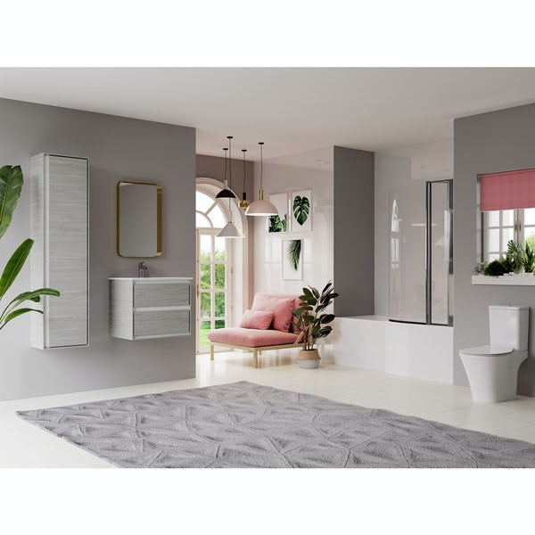 Ideal Standard Concept Air complete right hand wood light grey furniture and Idealform Plus shower bath suite 1700 x 800