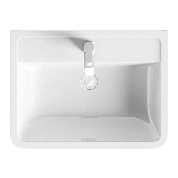 Sherwood white 600 floor standing vanity unit and resin basin