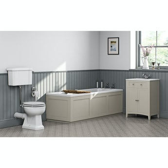 The Bath Co. Camberley ivory low level furniture suite with straight bath 1700 x 700mm