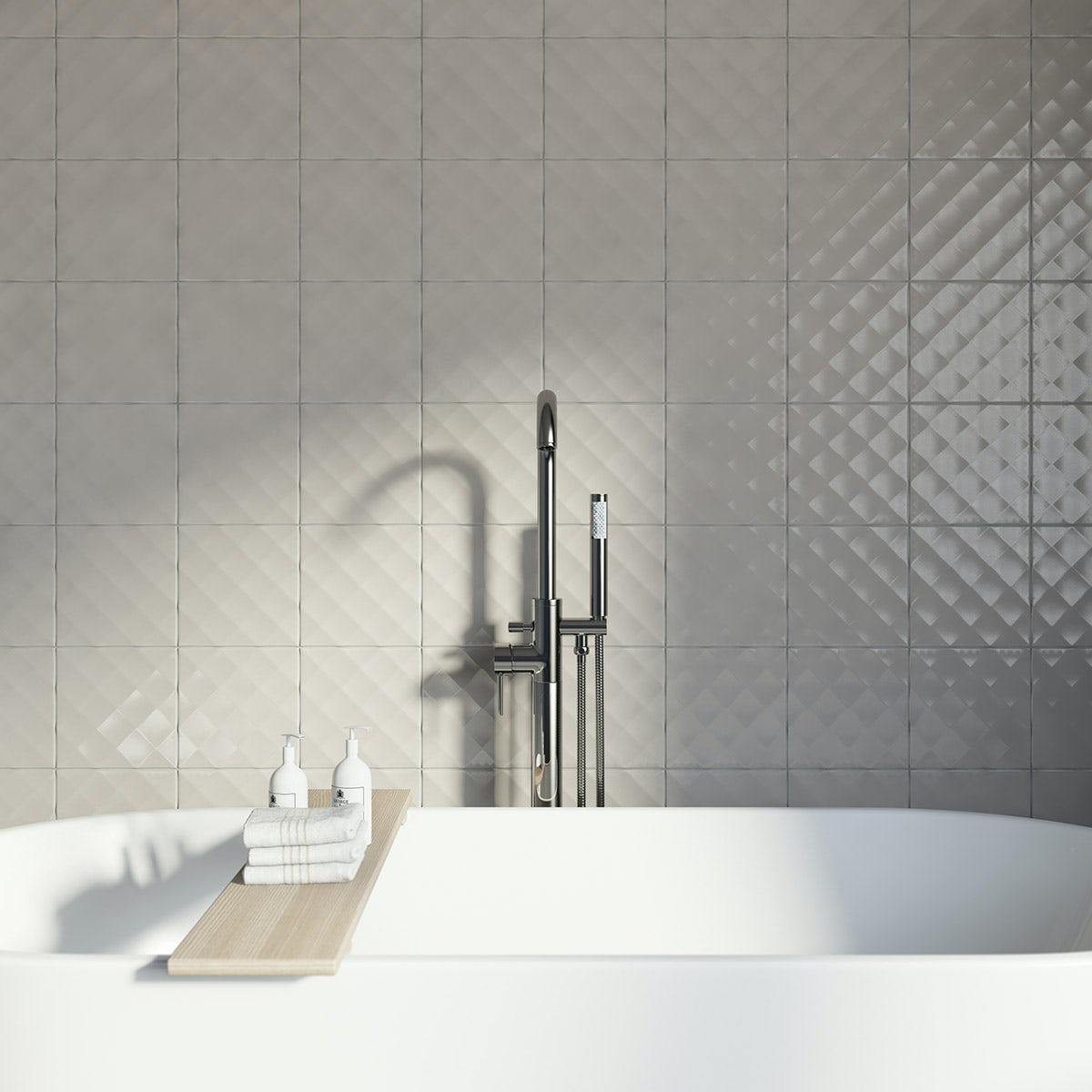 Studio Conran ridge putty gloss tile 198mm x 198mm