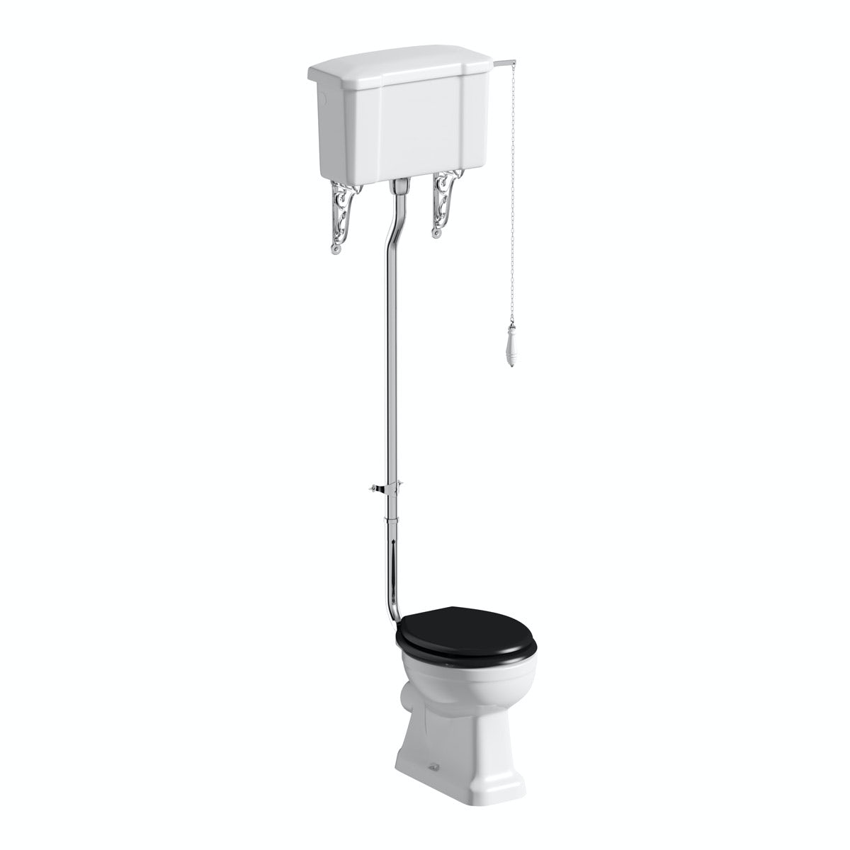 The Bath Co. Camberley high level toilet with wooden soft close seat black with pan connector