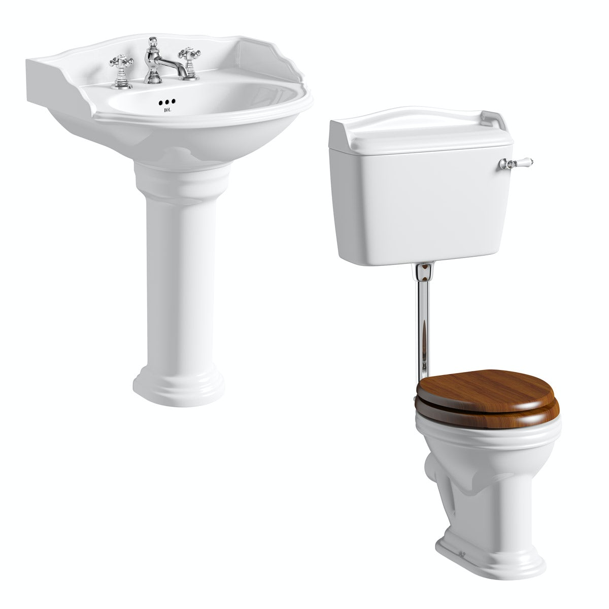 Belle de Louvain Charlet low level toilet and full pedestal suite with chrome fittings and taps
