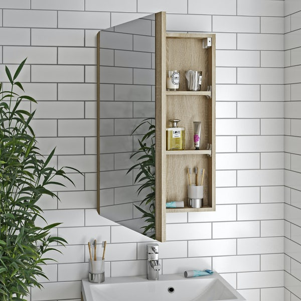 Orchard Wye oak furniture package with wall hung vanity unit 600mm