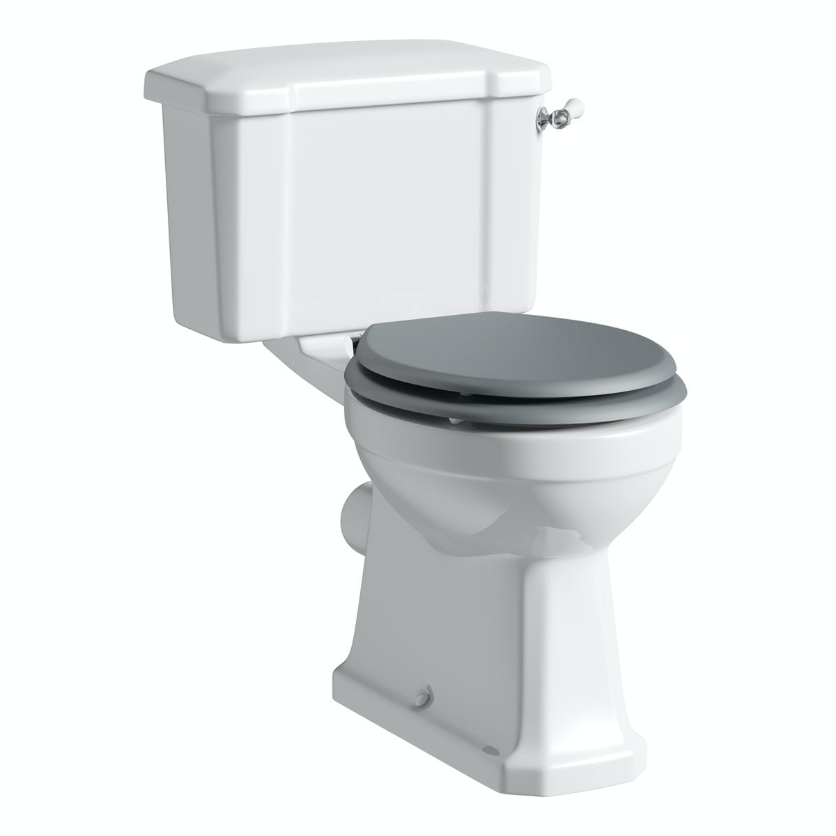 The Bath Co. Camberley close coupled toilet inc grey soft close seat with pan connector