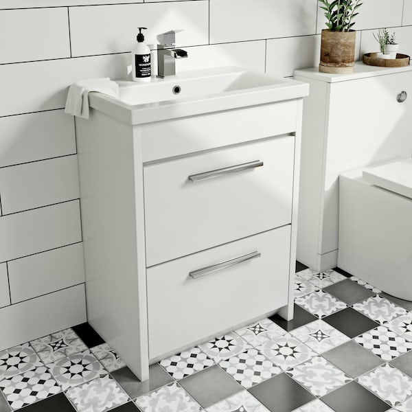 Clarity white vanity drawer unit with basin 600mm