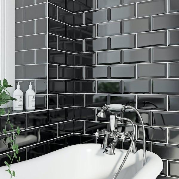British Ceramic Tile Metro bevel black gloss tile 100mm x 200mm ...
