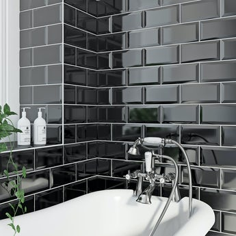 Metro bevel black gloss tile 100mm x 200mm