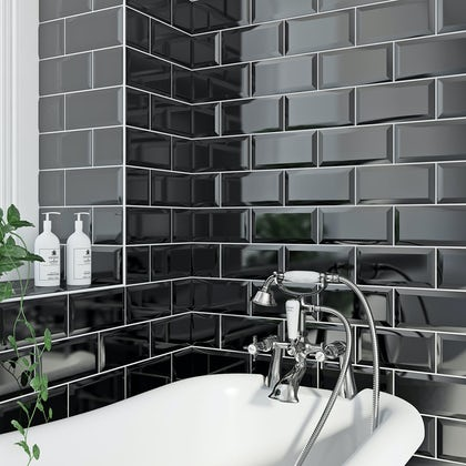 British Ceramic Tile Metro bevel black gloss tile 100mm x 200mm