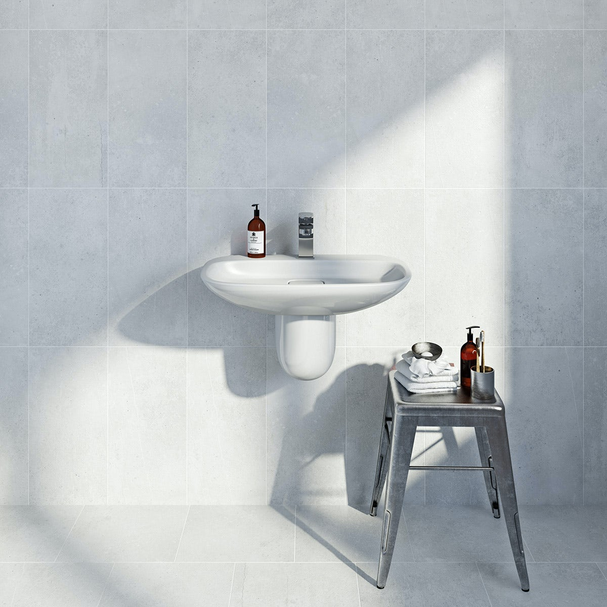 British Ceramic Tile Metropolis light grey matt tile 248mm x 498mm - Sold by Victoria Plum