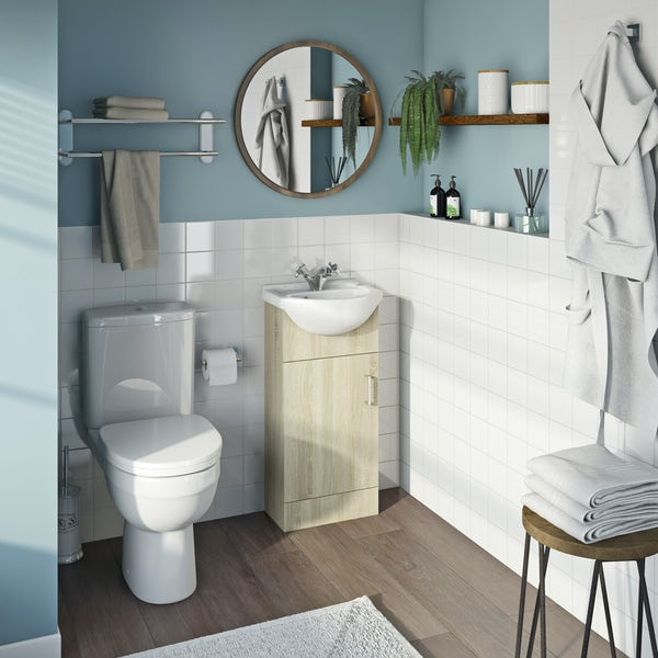 Eden oak cloakroom unit with Energy close coupled toilet
