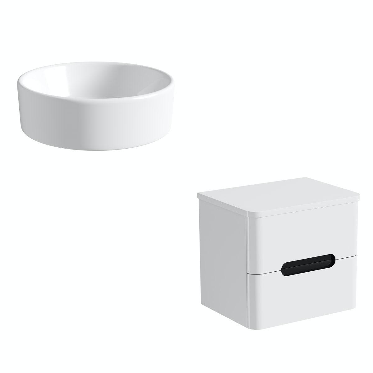 Mode Ellis essen wall hung countertop drawer unit 600mm with Calhoun basin