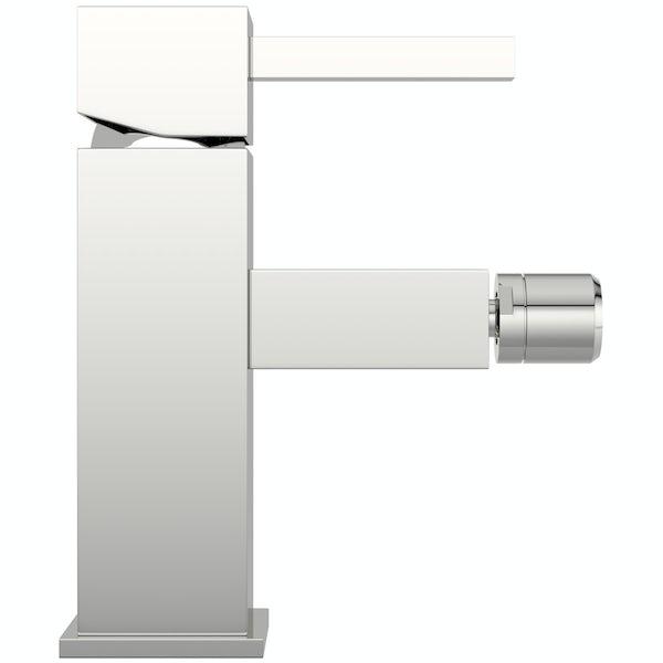 Cubik bidet mixer tap with pop up waste