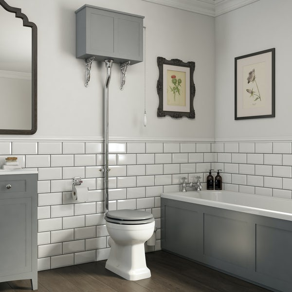 The Bath Co. Camberley high level toilet with grey toilet box and seat