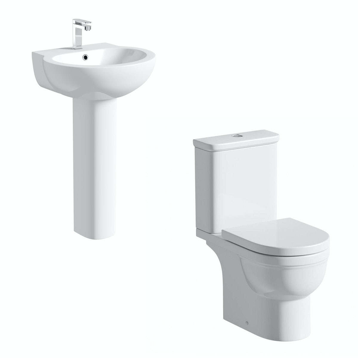 Orchard Elsdon cloakroom suite with contemporary full pedestal basin 540mm
