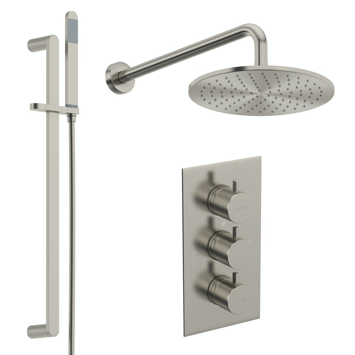 Mode Spencer round brushed nickel triple valve shower set