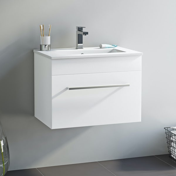 Orchard Derwent white wall drawer unit 600mm and mirror