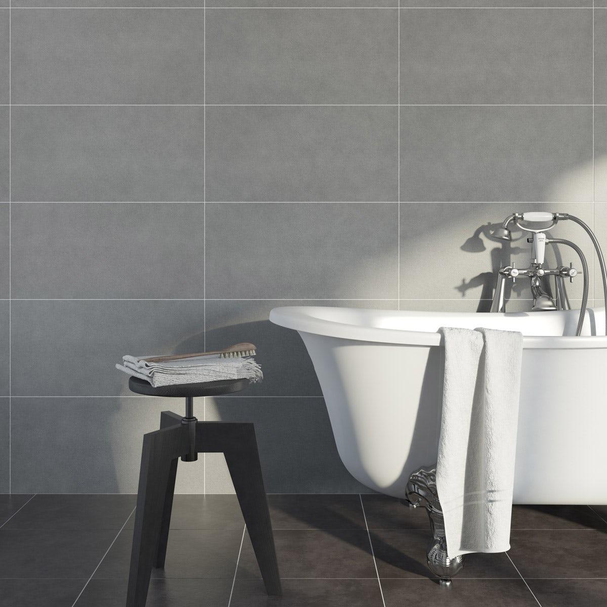 British Ceramic Tile Kaolin porcelain grey stone multiuse 310mm x 620mm