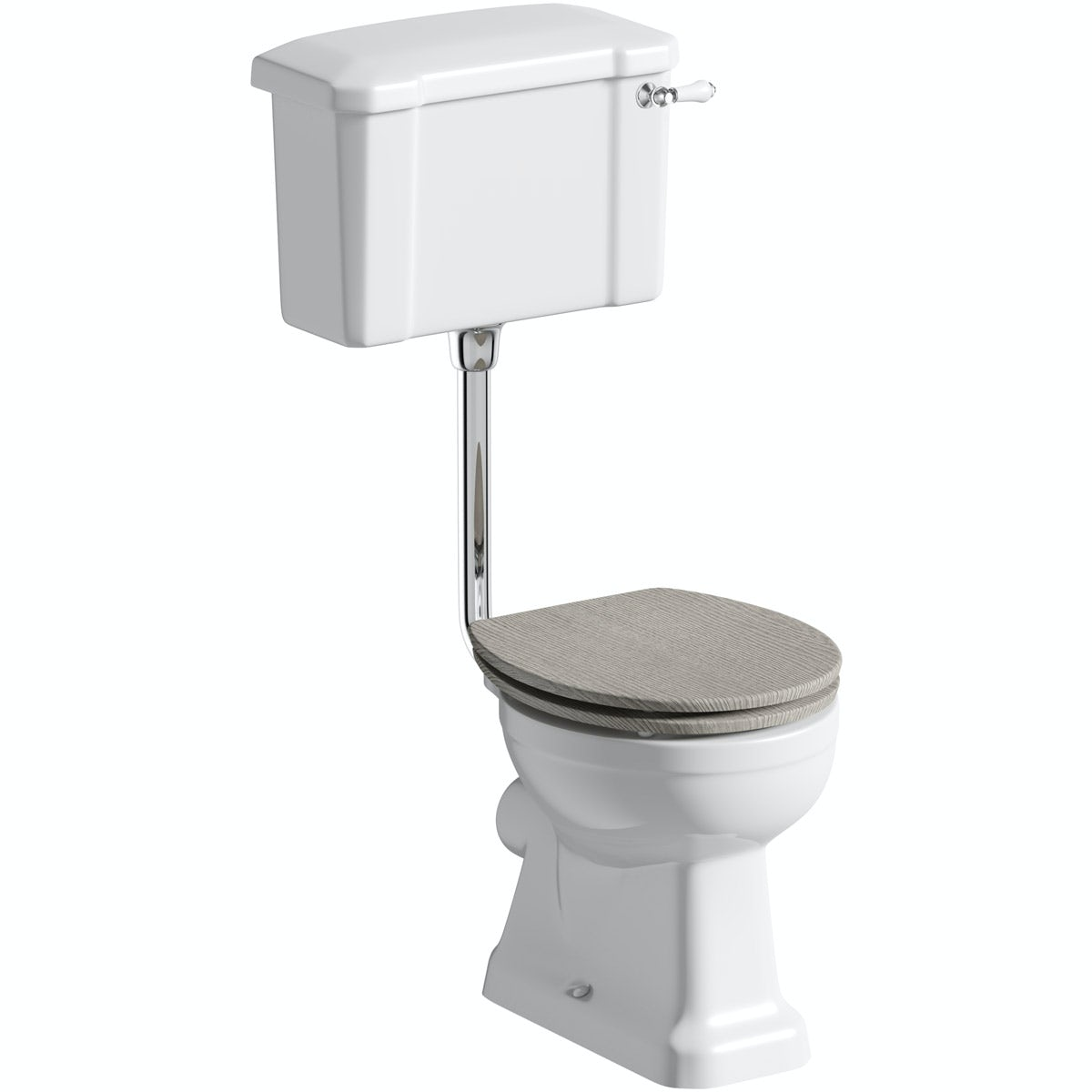 The Bath Co. Camberley low level toilet with wooden soft close seat grey oak effect with pan connector