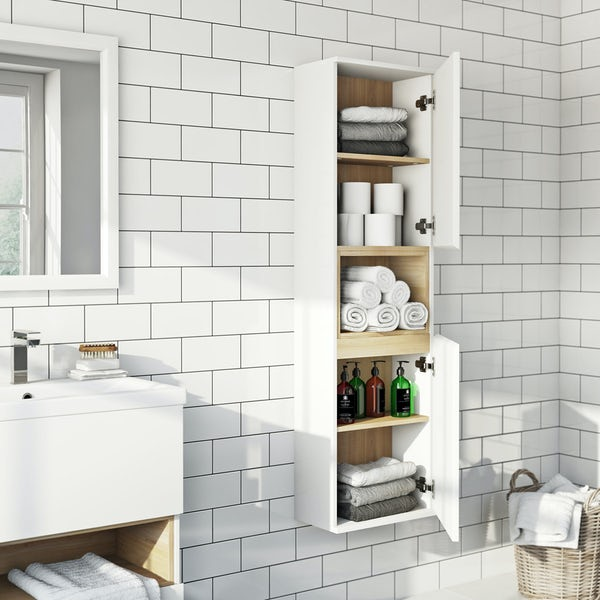 Tate white & oak wall cabinet