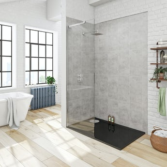 Mode 8mm walk in shower glass screen with right handed black tray 1200 x 800