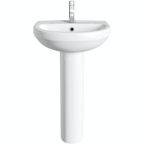 Oakley 500mm 1TH Basin & Full Pedestal