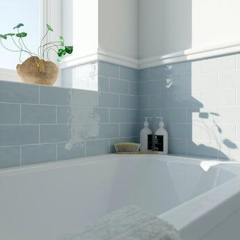 Laura Ashley Artisan seaspray blue gloss wall tile 75mm x 150mm