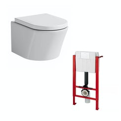 Arc wall hung toilet with luxury toilet seat and wall hanging frame