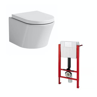 Arc Wall Hung Toilet and Wall Mounting Frame