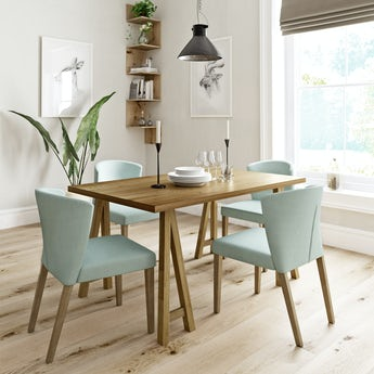 Hudson oak trestle table with 4 x Hudson light cyan dining chairs