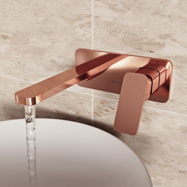 Mode Spencer square wall mounted rose gold basin mixer tap offer pack