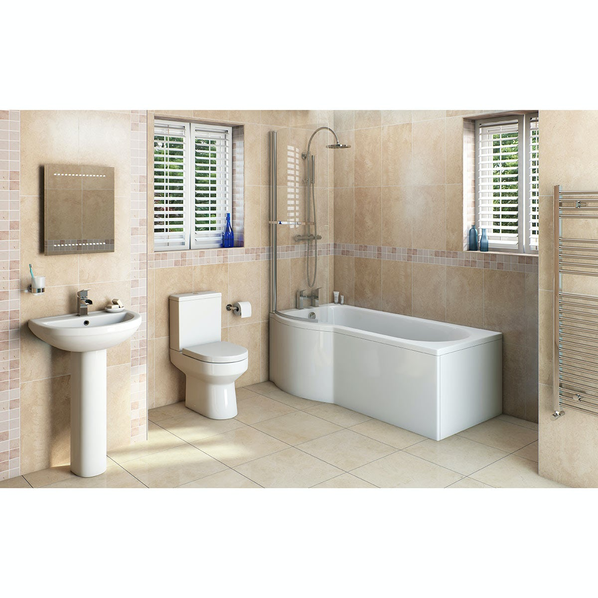 Orchard Wharfe bathroom suite with left handed P shaped shower bath 1675 x 851