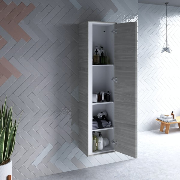 Ideal Standard Concept Air wood light grey furniture and freestanding bath suite 1700 x 790