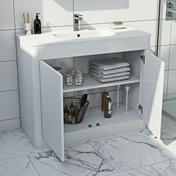 Mode carter ice white furniture package with vanity unit 1000mm