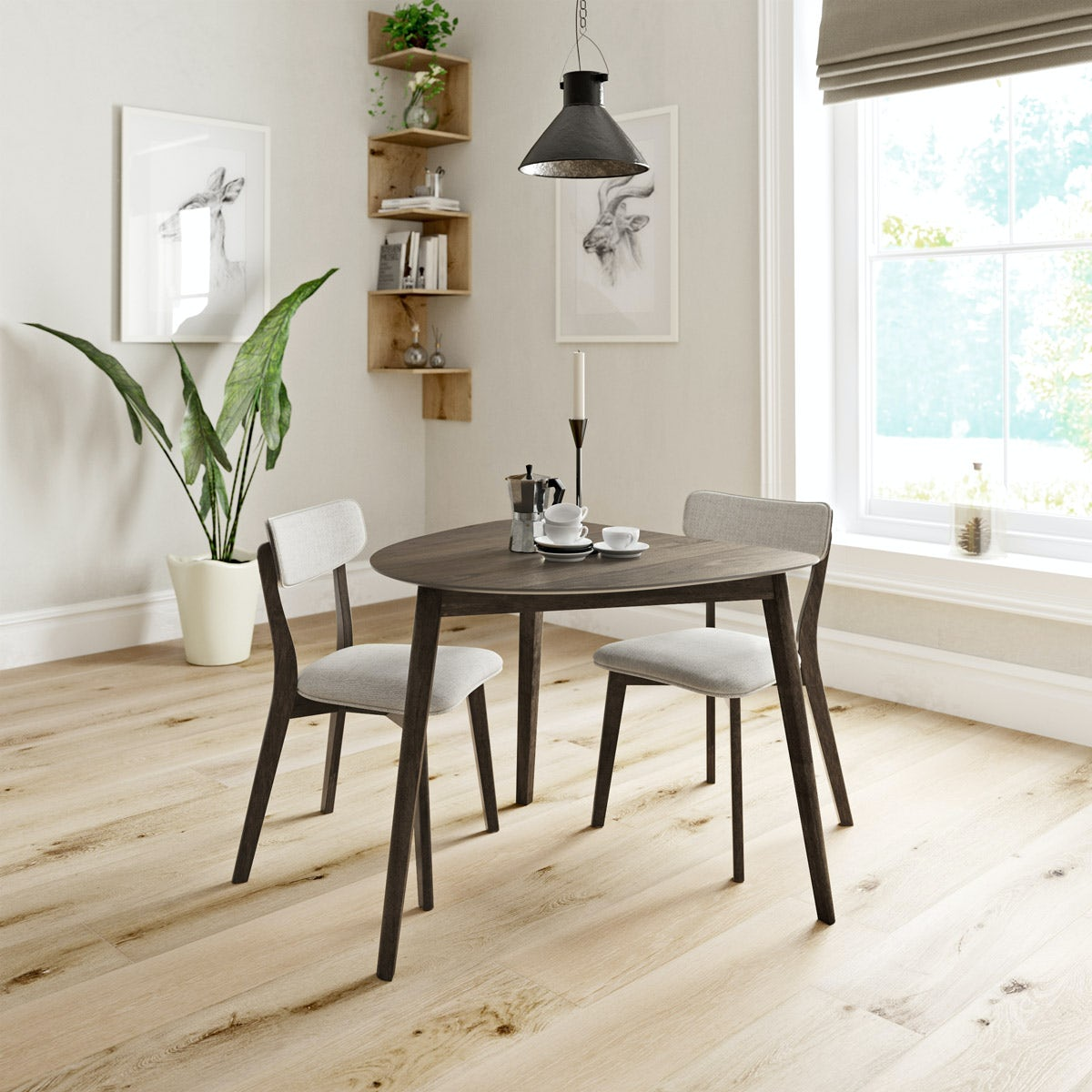 Harrison Walnut Table with 2x beige chairs