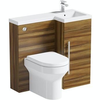 OrchardMySpacewalnut right handed unit with contemporary back to wall toilet
