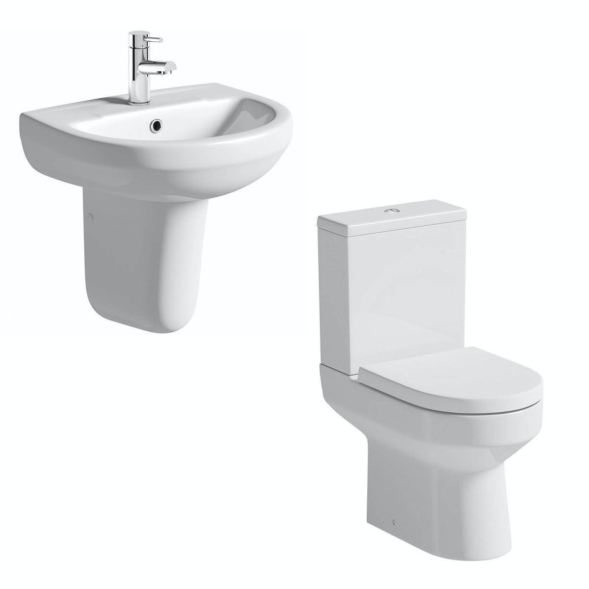 Orchard Wharfe cloakroom suite with semi pedestal basin 550mm