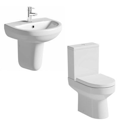 Oakley Close Coupled Toilet and Semi Pedestal Suite