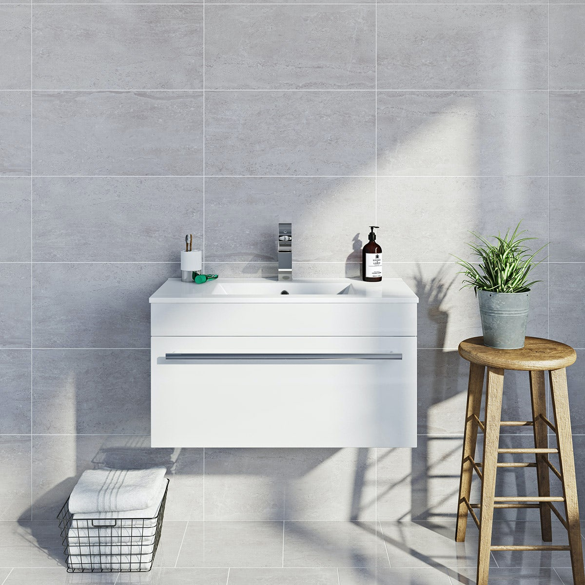 British Ceramic Tile Lux dove grey gloss tile 298mm x 598mm - Sold by Victoria Plum